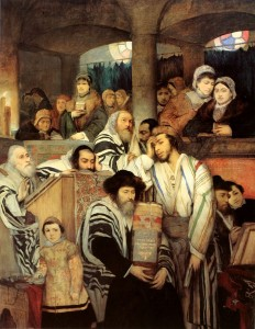 "Praying in the Synagogue on Yom Kippur"" by Maurycy Gottlieb"