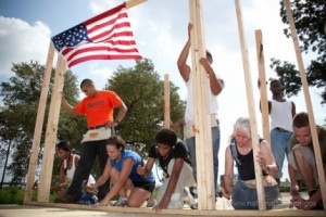 Volunteers rebuilding a home in New Orleans